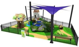 Picture of the playground at the Port Orange Pavilition with a tree house, crawl-thru barrel, climb on rock structure and belvedere