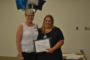 Photo of Chief Nursing Officer Catherine Luchsinger and Nicole Smith, 2016 Nurse of Excellence