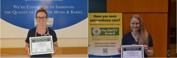 Picture of Shay Hubert, RN and Christine Padera, RN holding their DAISY Award