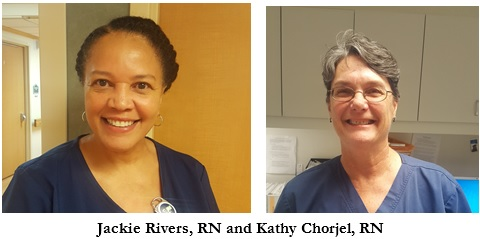 Picture of Jackie Rivers, RN and Kathy Chorjel, RN