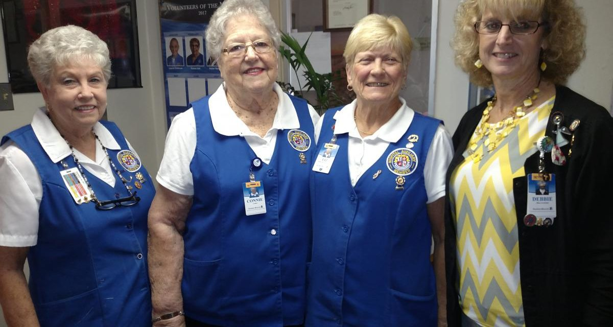 Picture of Dorothy Storey; Connie Freer; Halifax Health - Auxiliary 1st Vice President Liz Dusz; and Debbie Gallenkamp, office coordinator, Halifax Health - Auxiliary