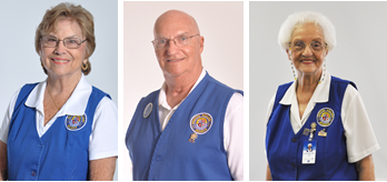 Picture of Ann Bush, Auxiliary Volunteer June 2017; Bill Perrine Auxiliary Volunteer July 2017, and Evelyn Chitty Auxiliary Volunteer August 2017