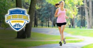 Picture of girl running with the Live Your Life Well logo
