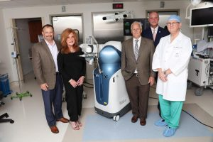 Picture of the Stryker's Mako Robotic-Arm Assisted Total Knee with Andrew Leech, chairman, Halifax Health-Foundation Board of Directors; Mary Bennett, board member, Halifax Heath-Foundation; Harold L. Goodemote II, chairman, Halifax Health Board of Commissioners; Jeff Feasel, president and chief executive officer, Halifax Health; and orthopedic surgeon Charles B. Williamson, M.D.