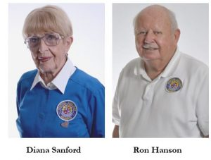 Picture of Diana Sanford, Auxiliary Volunteer of the month for January, and picture of Ron Hanson, Auxiliary volunteer of the month for March