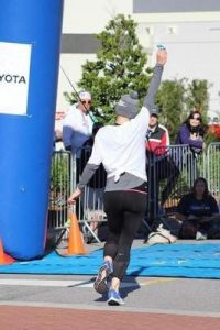 Laura Stegall at the finish line
