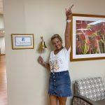 Jennifer ringing her 2nd bell after finishing radiation treatment